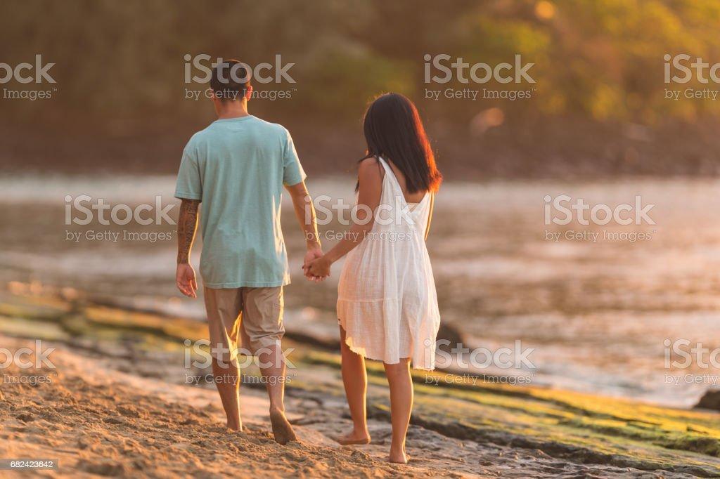 Hawaii family vacation on beach royalty-free stock photo