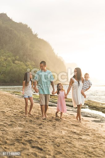 istock Hawaii family vacation on beach 811148882