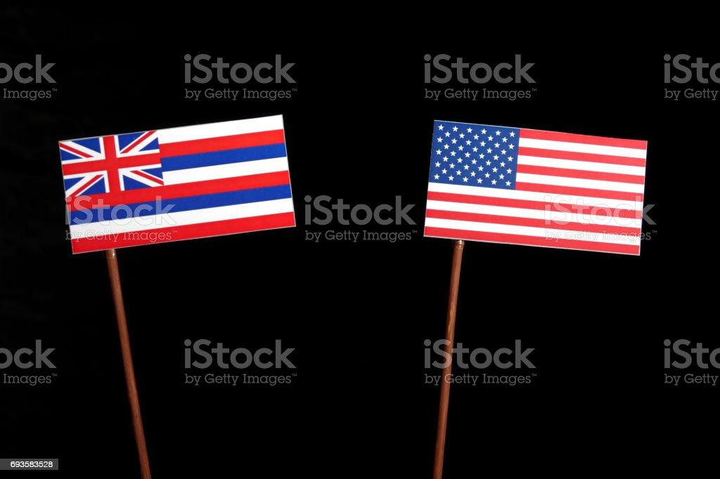 Hawaii Flag With USA Isolated On Black Background Royalty Free Stock Photo