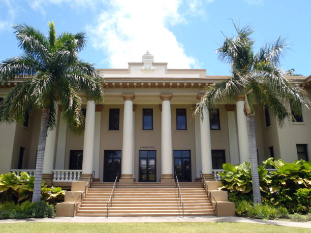 Hawaii Hale on College Campus stock photo