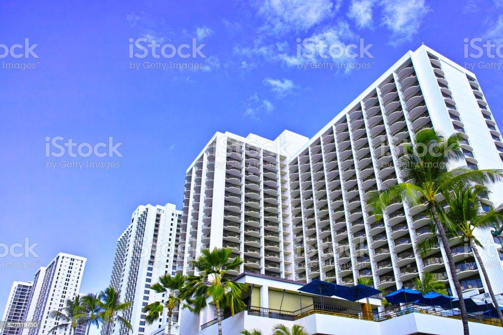 Hawaii Hotels at Waikiki Beach stock photo
