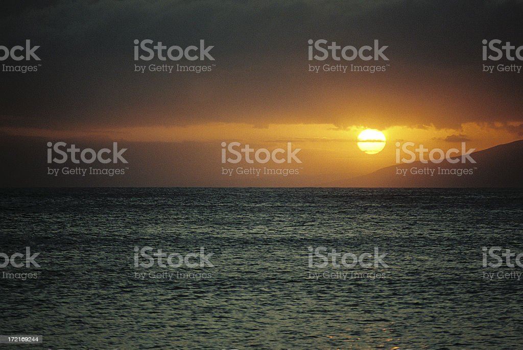 Hawaii island sunset royalty-free stock photo