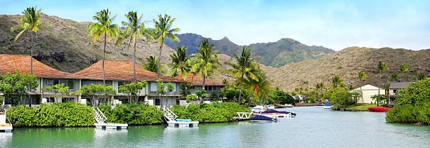 hawaii kai  (oahu, hawaii) - hawaii home stock photos and pictures