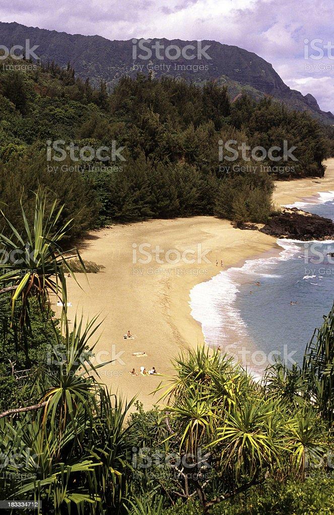 USA Hawaii Kauai, Lumahai Beach. stock photo