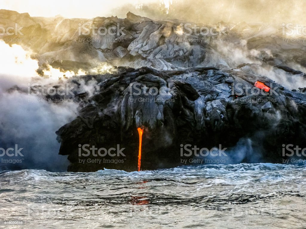Hawaii lava eruption stock photo