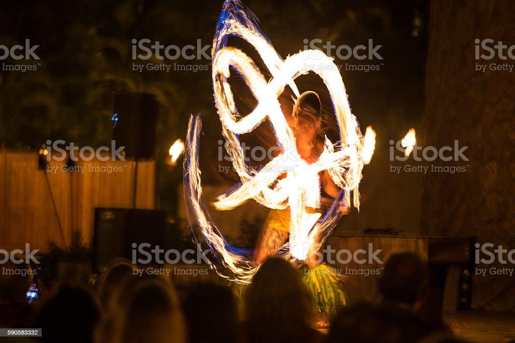 hawaii luau fire dancers stock photo