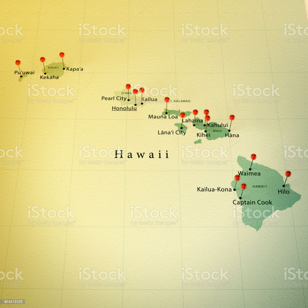 Hawaii Map Square Cities Straight Pin Vintage Stock Photo More