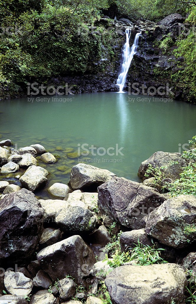 USA Hawaii Maui, waterfall on highway to Hana. stock photo