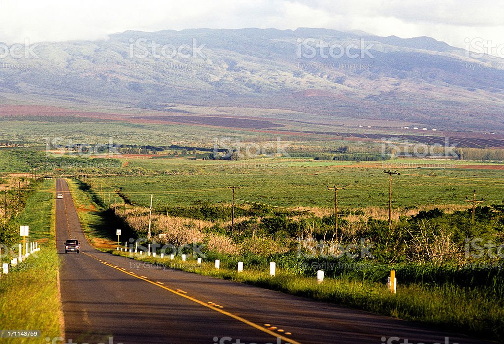 USA Hawaii Molokai, rural highway. stock photo