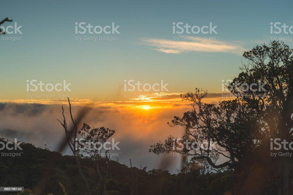 Hawaii Mountains at sunset zbiór zdjęć royalty-free