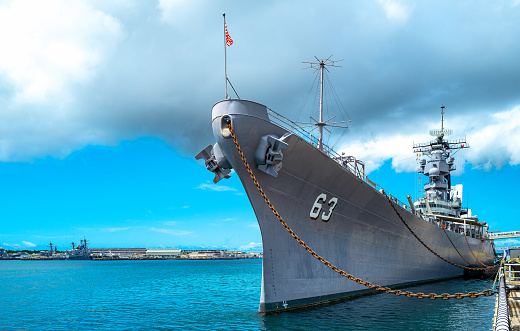 Honolulu, Awaii - May 3, 2019: Pearl Harbor, the Missoury Battleship