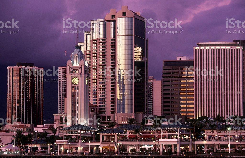 USA Hawaii O'ahu, Aloha Tower, downtown Honolulu. stock photo