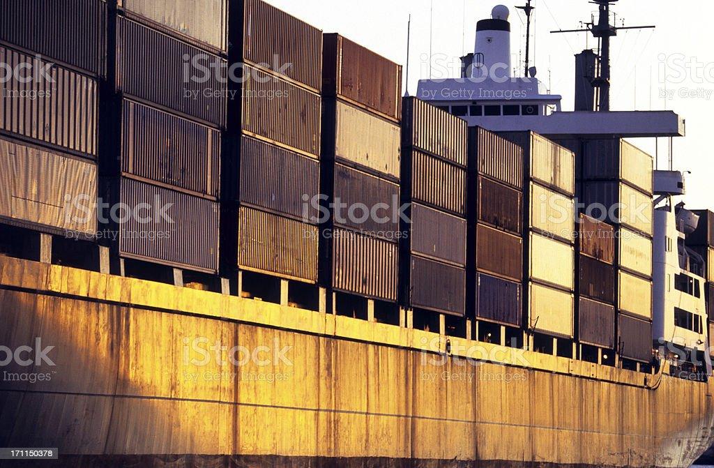USA Hawaii O'ahu, Honolulu Harbor, container ship. royalty-free stock photo