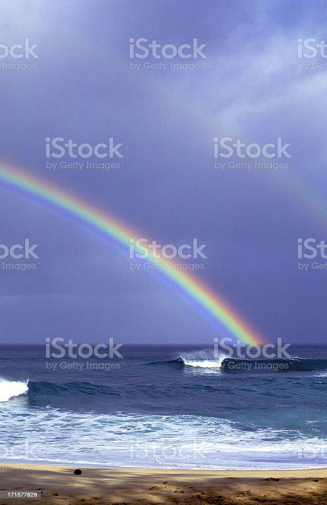 USA Hawaii O'ahu, North Shore, Rainbow. royalty-free stock photo