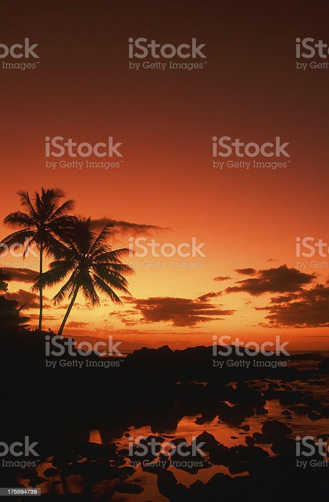 USA, Hawaii, Oahu, North Shore, sunset. royalty-free stock photo