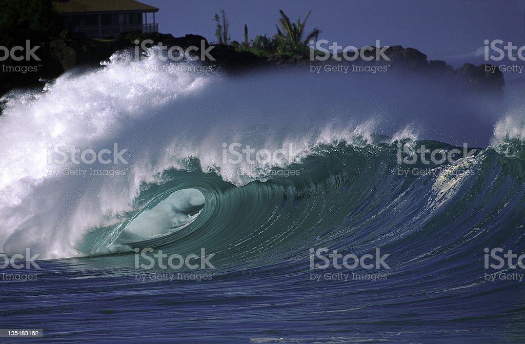 USA Hawaii O'ahu, North Shore, Waimea Bay. stock photo