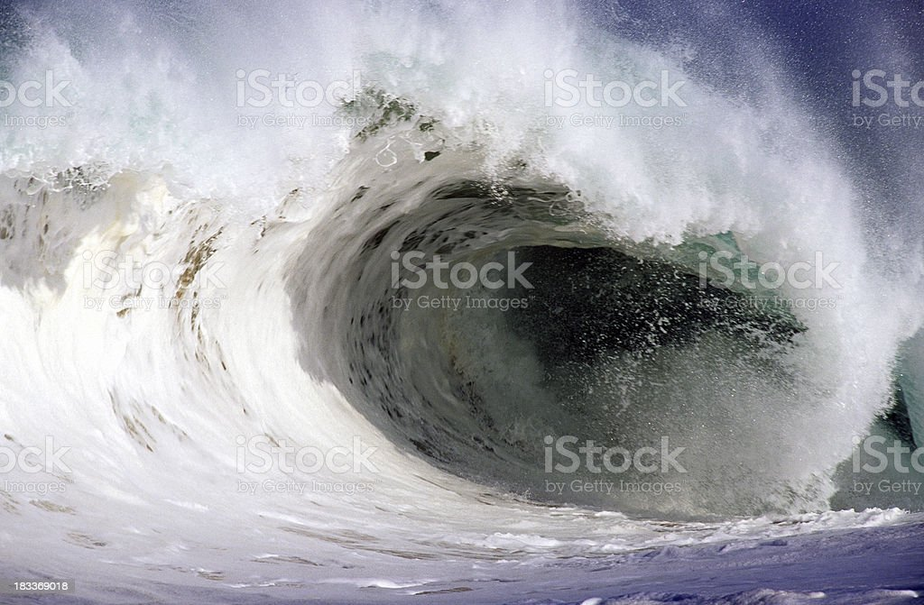 USA Hawaii O'ahu, North Shore, Waimea Bay, Wave. royalty-free stock photo
