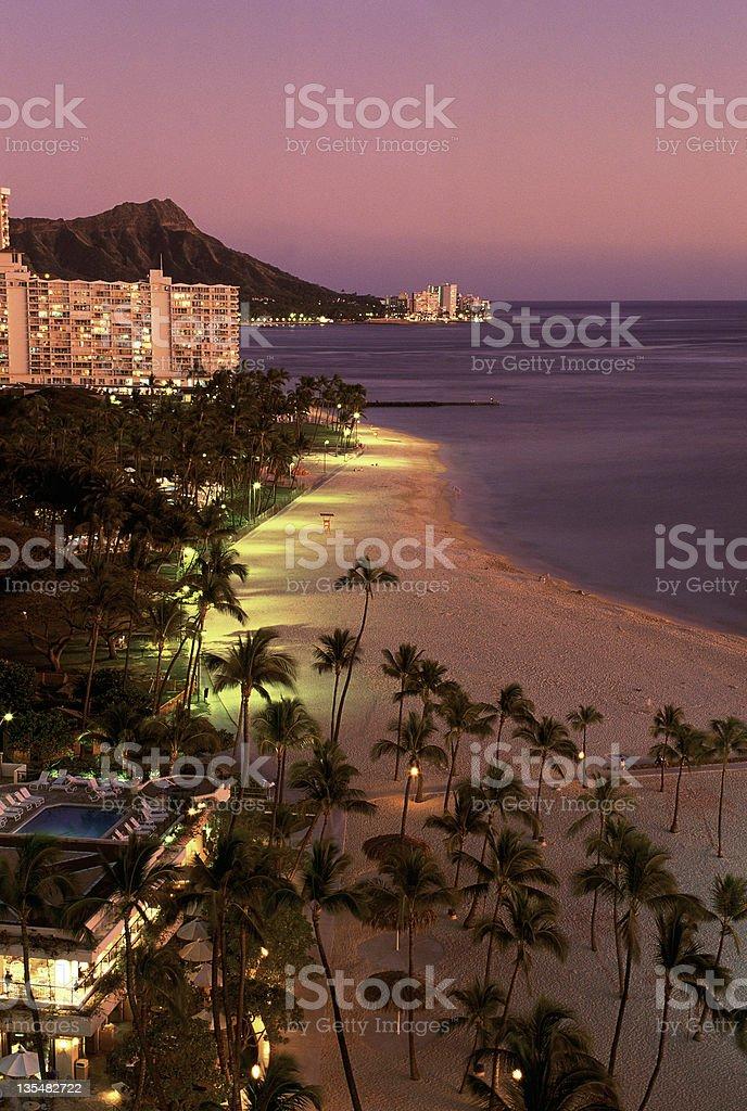 USA Hawaii Oahu, Waikiki and Diamond Head on sunset stock photo
