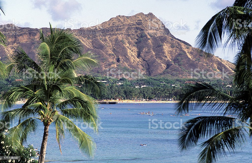 USA Hawaii O'ahu, Waikiki and Diamond Head. stock photo