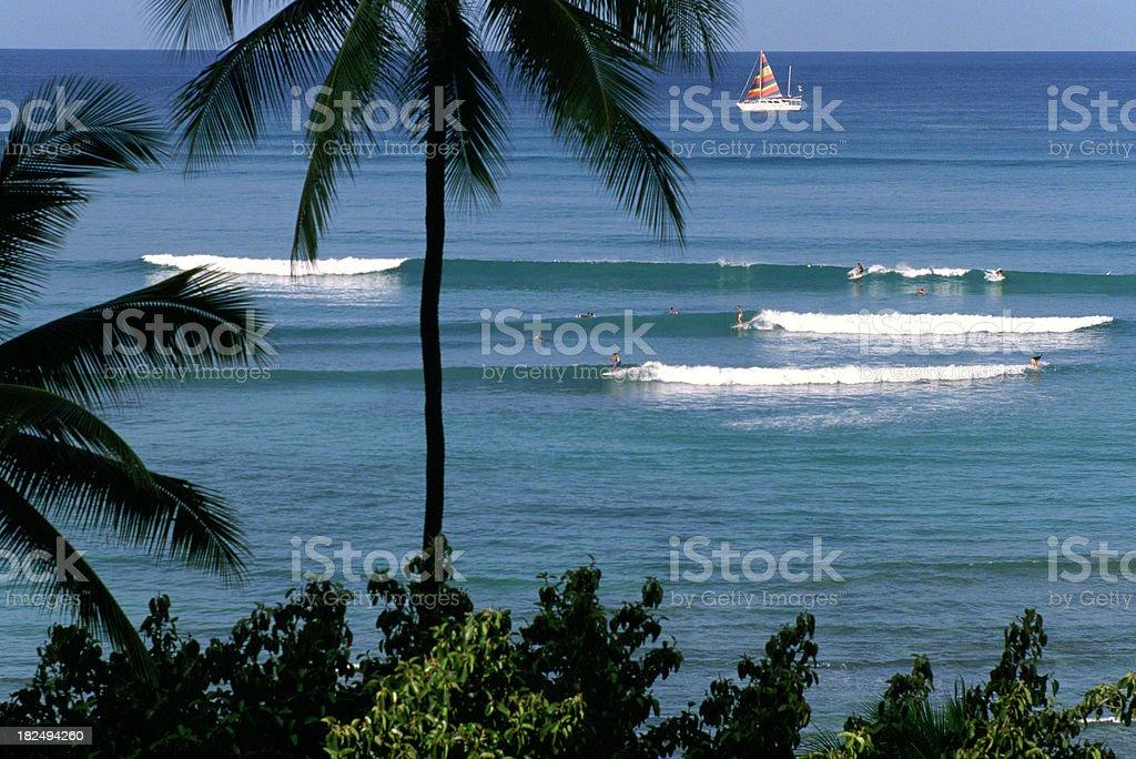 USA Hawaii O'ahu, Waikiki Beach. royalty-free stock photo