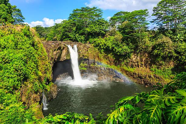 Hawaii, Rainbow Falls in Hilo. stock photo