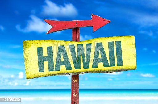 Hawaii sign with a beach background