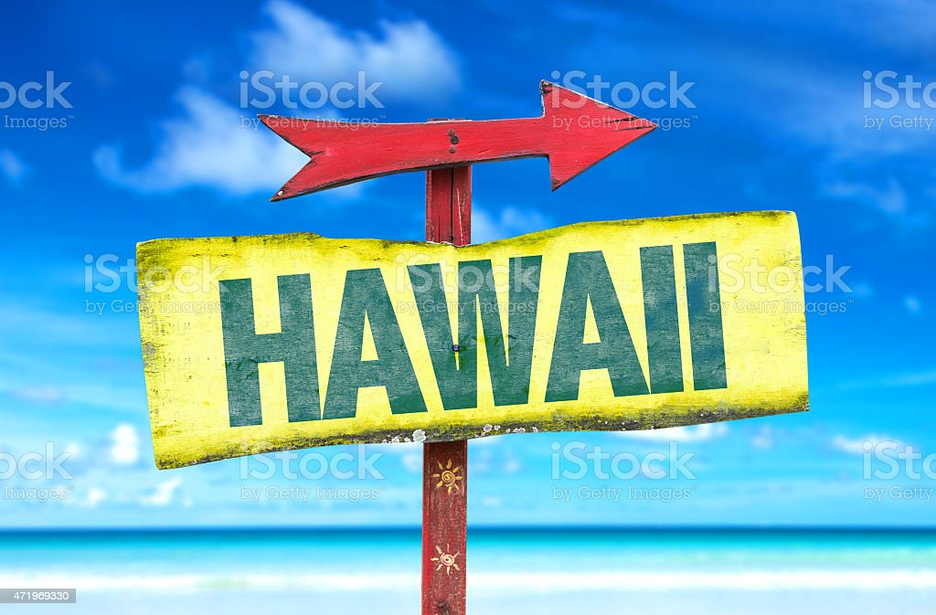 Hawaii sign with a beach background stock photo