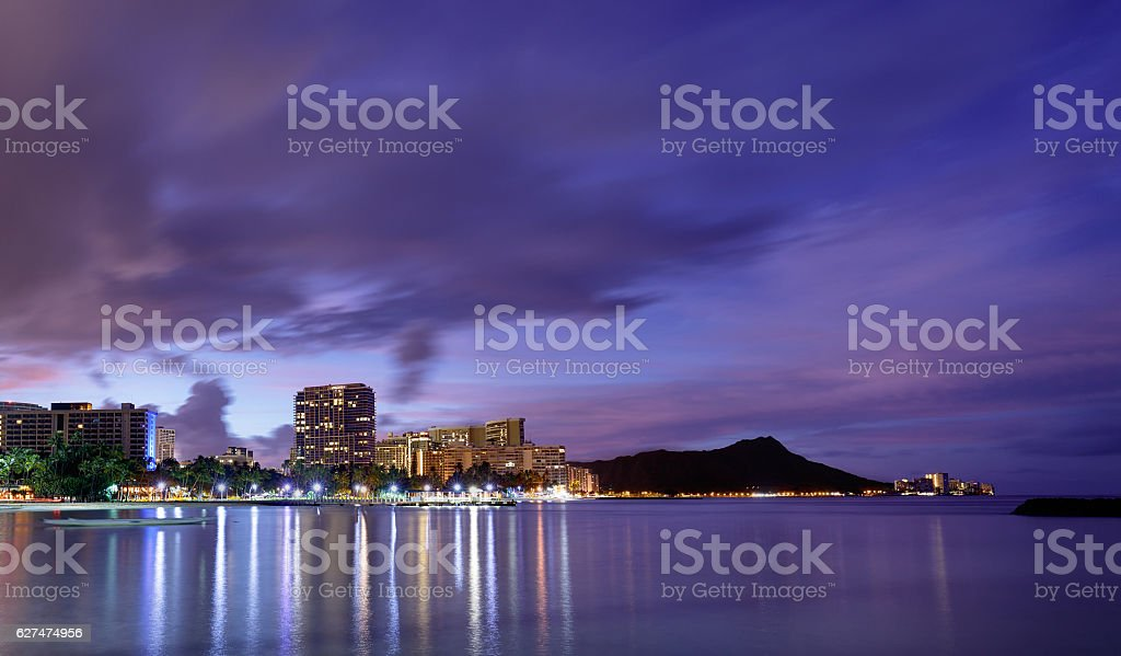 Hawaii skyline at sunrise stock photo