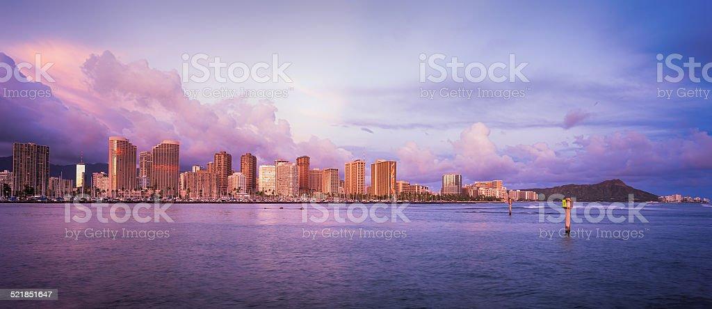 Hawaii skyline at sunset stock photo
