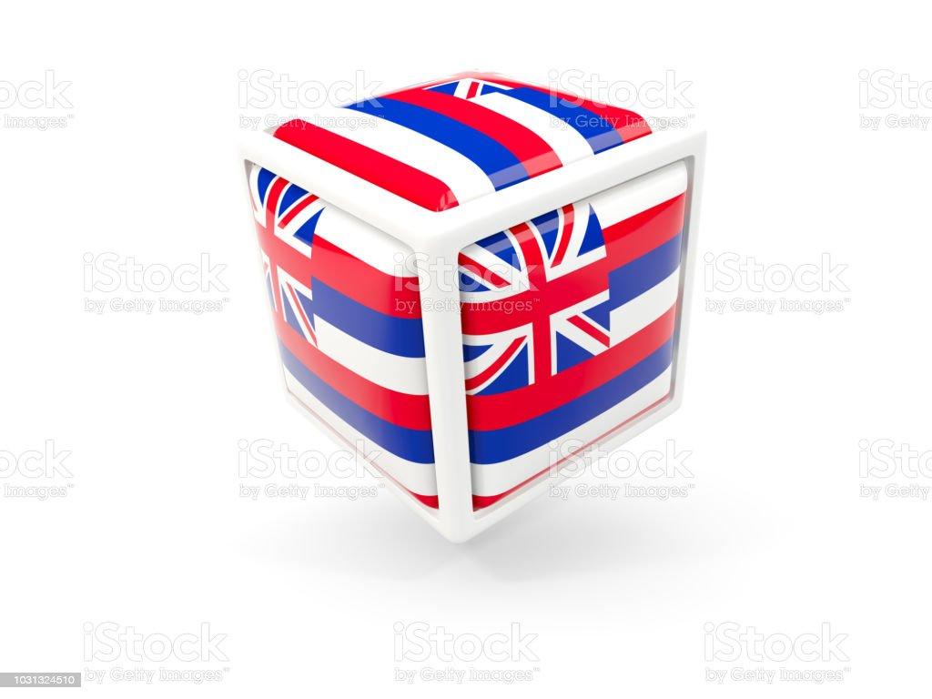 Bandeira do estado de Havaí em ícone de cubo. Bandeiras de locais dos Estados Unidos - foto de acervo