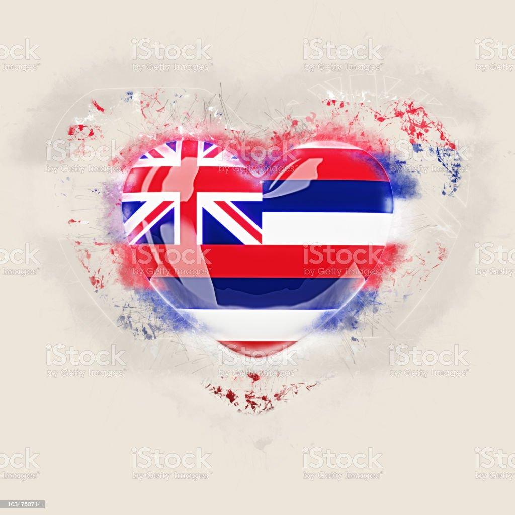 Bandeira do estado de Havaí em um coração de grunge. Bandeiras de locais dos Estados Unidos - foto de acervo