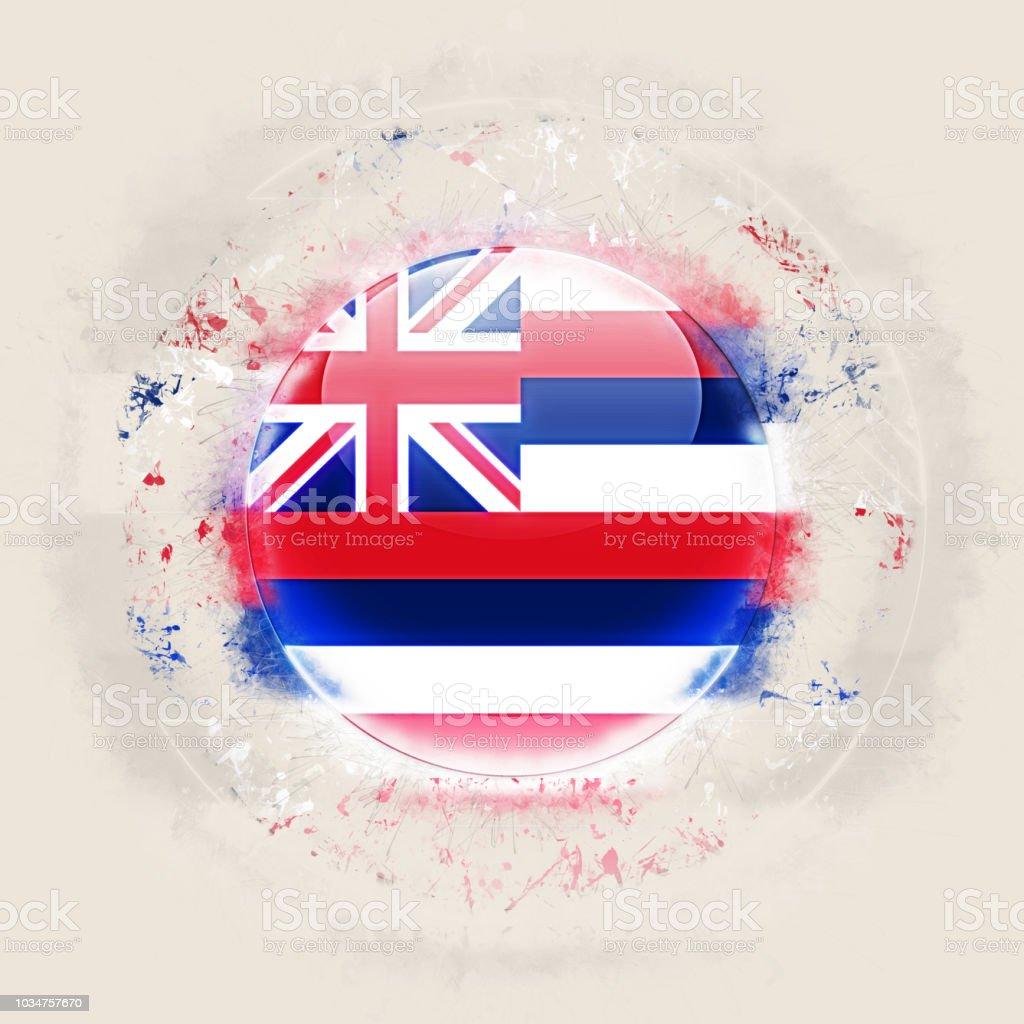 Bandeira do estado de Havaí em um ícone do grunge redondo. Bandeiras de locais dos Estados Unidos. Ilustração 3D - foto de acervo