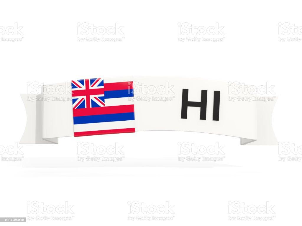 Bandeira do estado de Havaí no banner com abreviatura postal isolada no branco - foto de acervo