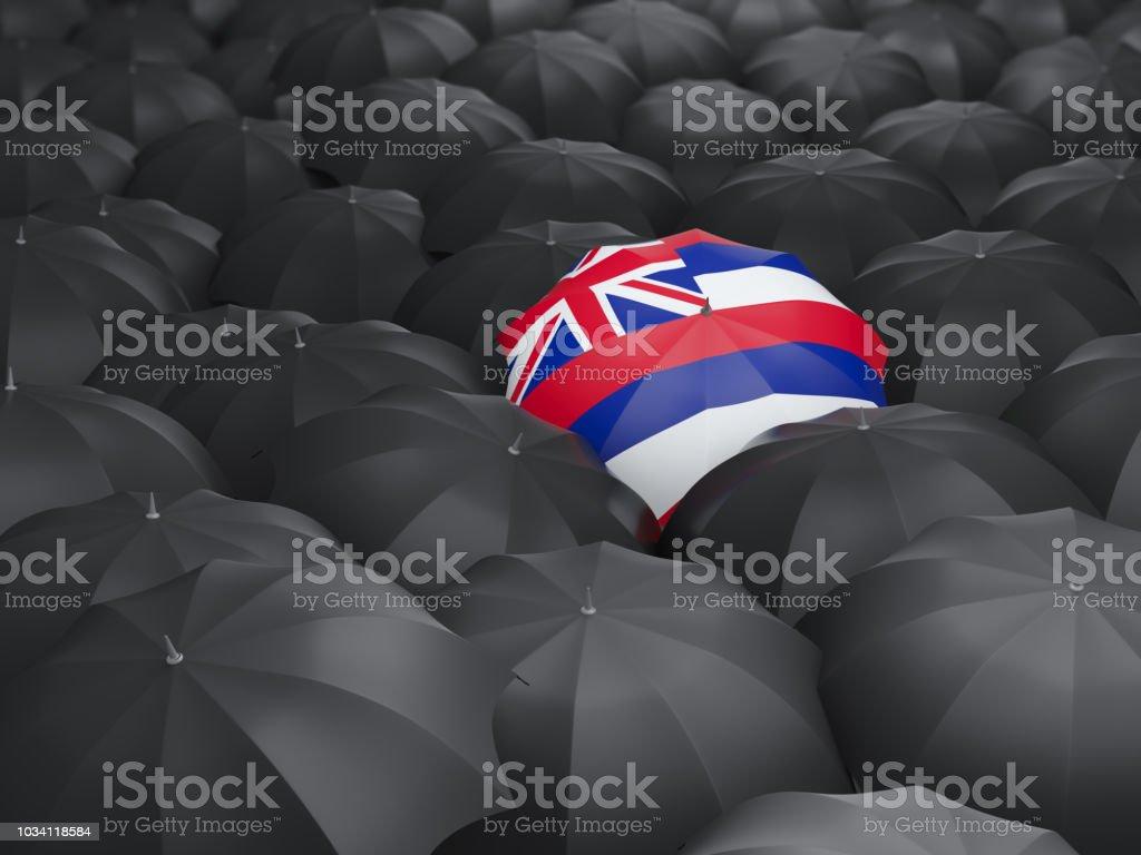 Bandeira do estado de Havaí no guarda-chuva. Bandeiras de locais dos Estados Unidos - foto de acervo