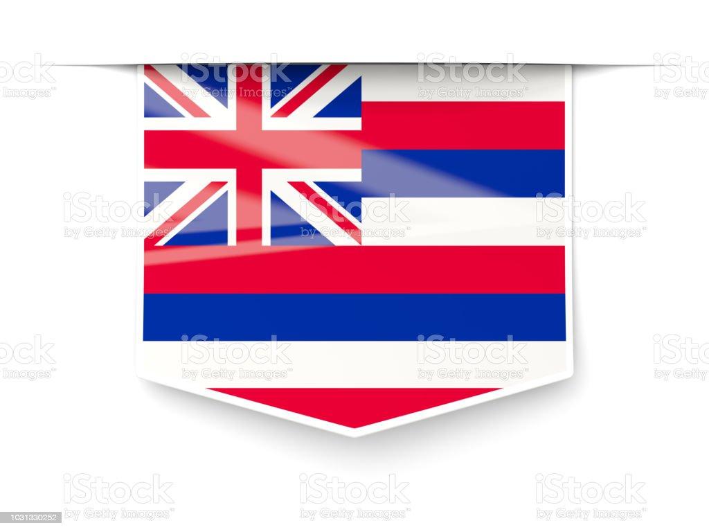 Bandeira do estado de Havaí quadrados rótulo com sombra. Bandeiras de locais dos Estados Unidos - foto de acervo