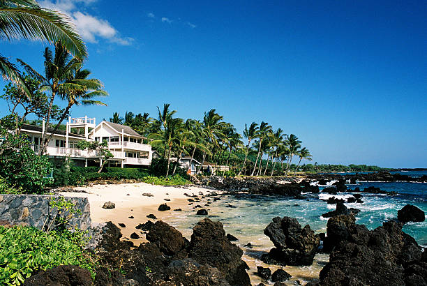 hawaii style tropical mansion home house on maui - hawaii home stock photos and pictures