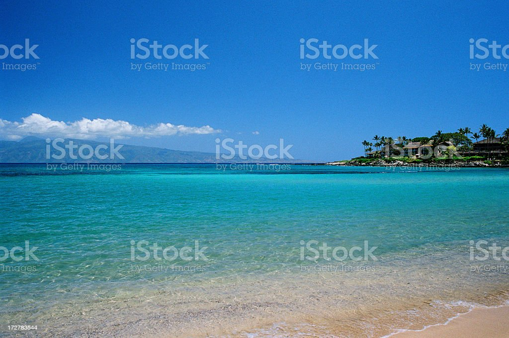Hawaii Tropical Pacific Ocean beach hotel scene royalty-free stock photo