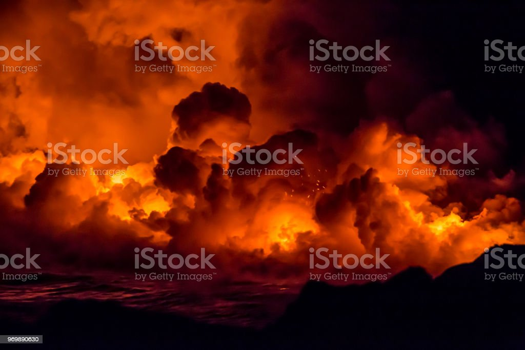 Hawaii volcanoes national park lava stock photo