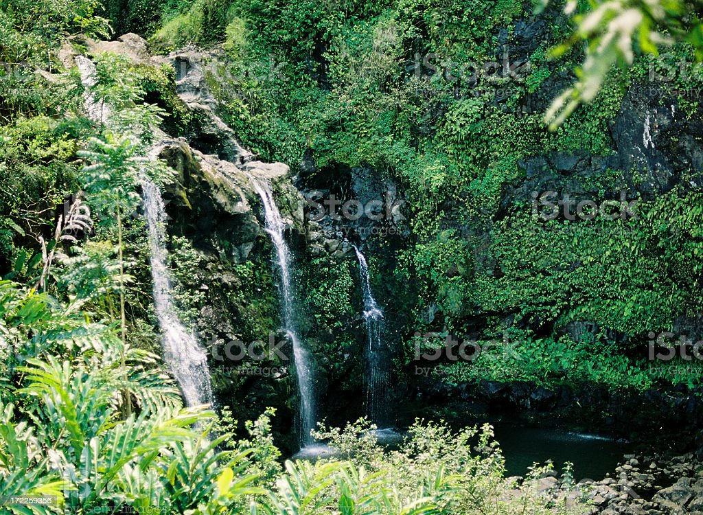 Hawaii waterfalls stock photo