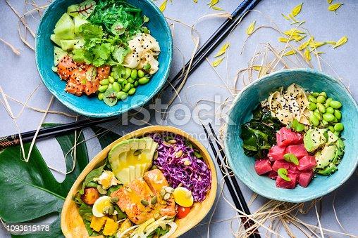 istock Hawaiian Ahi poke bowl, tuna and salmon.Raw organic. 1093815178