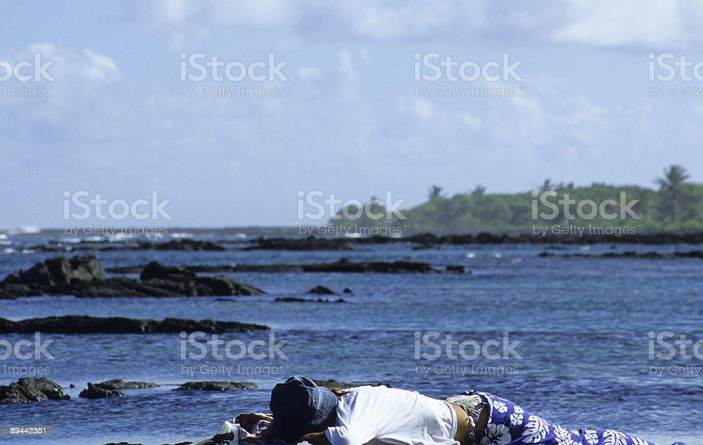 Hawaiian Basalt Beach stock photo