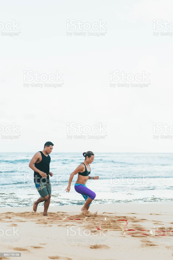 Hawaiian Beach Exercise royalty-free stock photo
