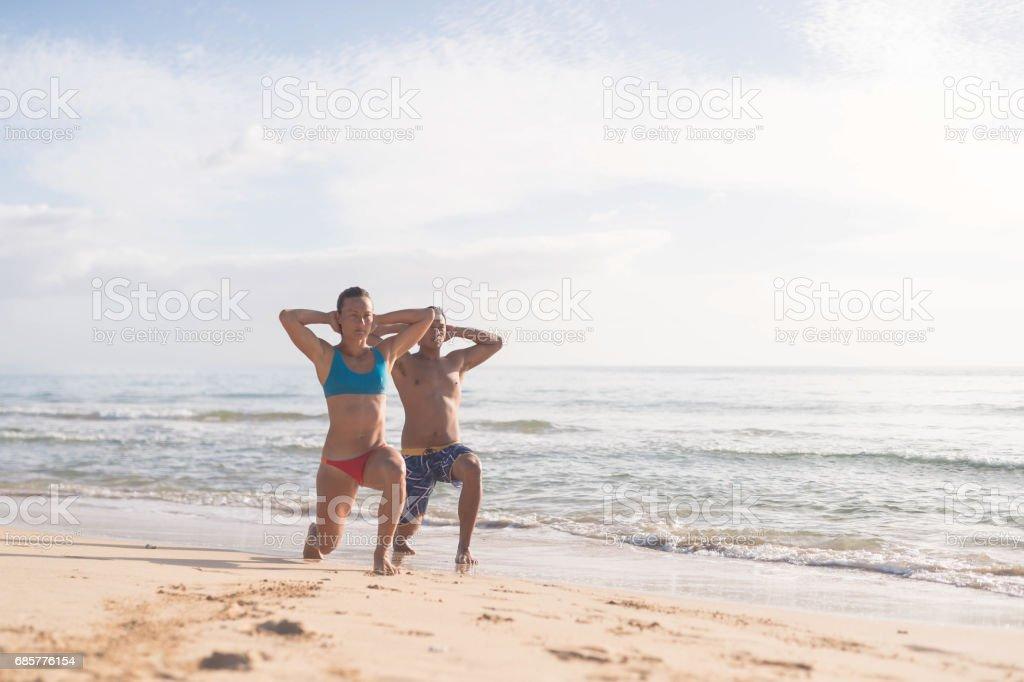 Hawaiian Beach Exercise royalty-free stock photo