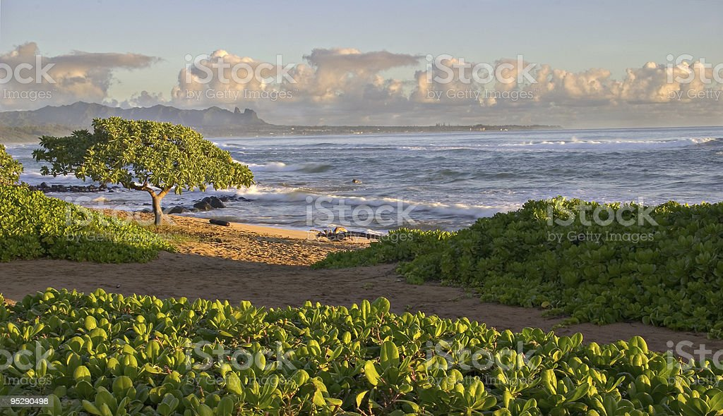 Hawaiian Beach Sunrise - Kauau, Hawaii stock photo