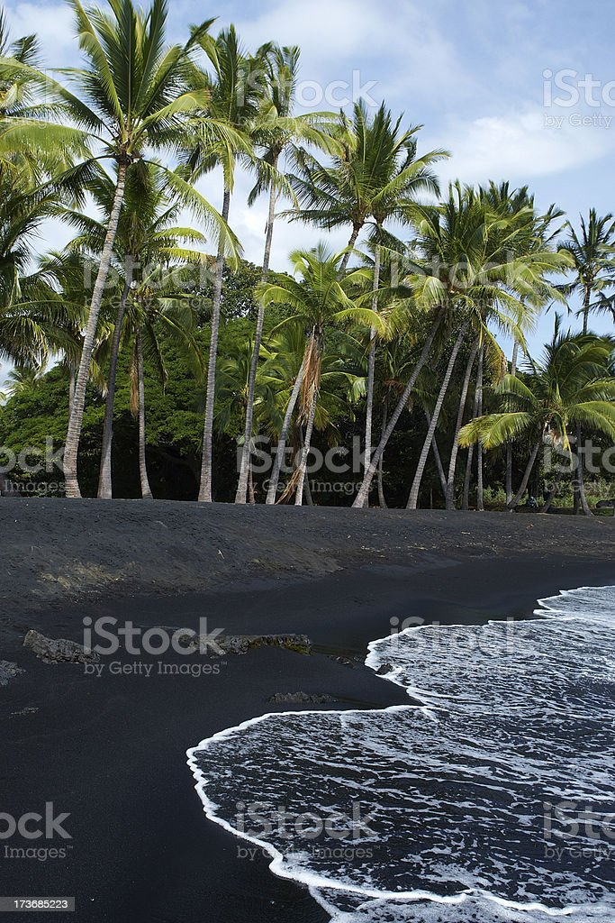Hawaiian Black Sand Beach stock photo