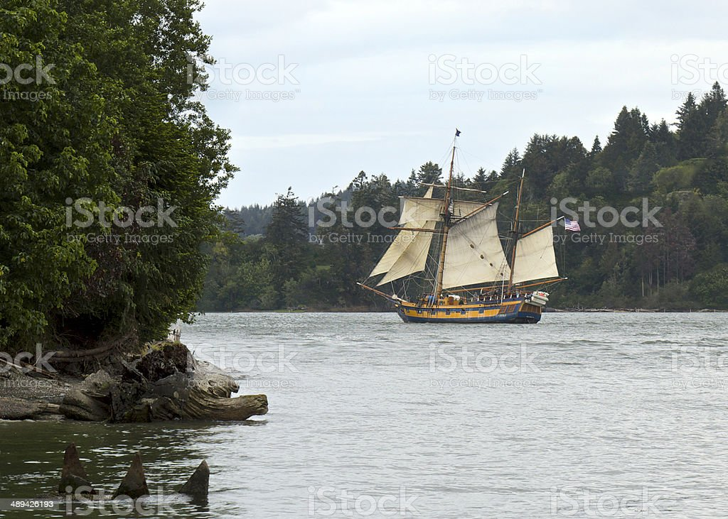 Hawaiian Chieftain Tall Ship Sailboat North Bend Coos Bay Oregon stock photo