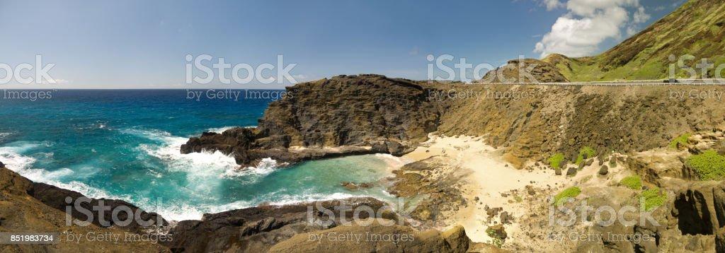 Hawaiian coast panorama stock photo