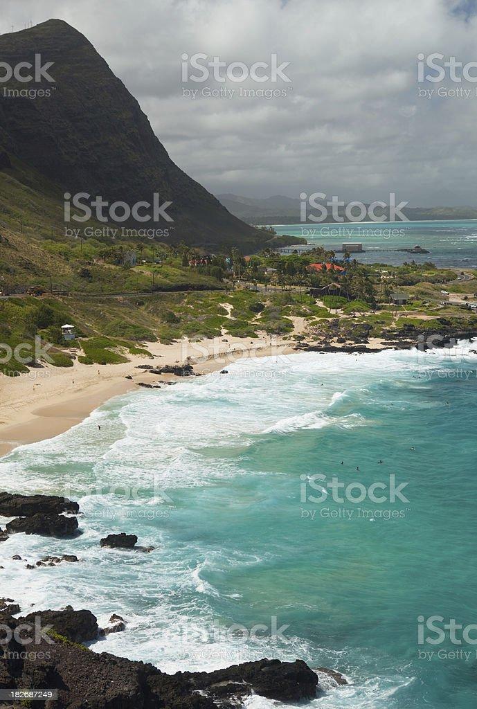 Hawaiian Coastline with a sandy beach stock photo