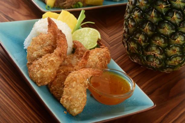 Hawaiian Coconut Shrimp with Dipping Sauce stock photo