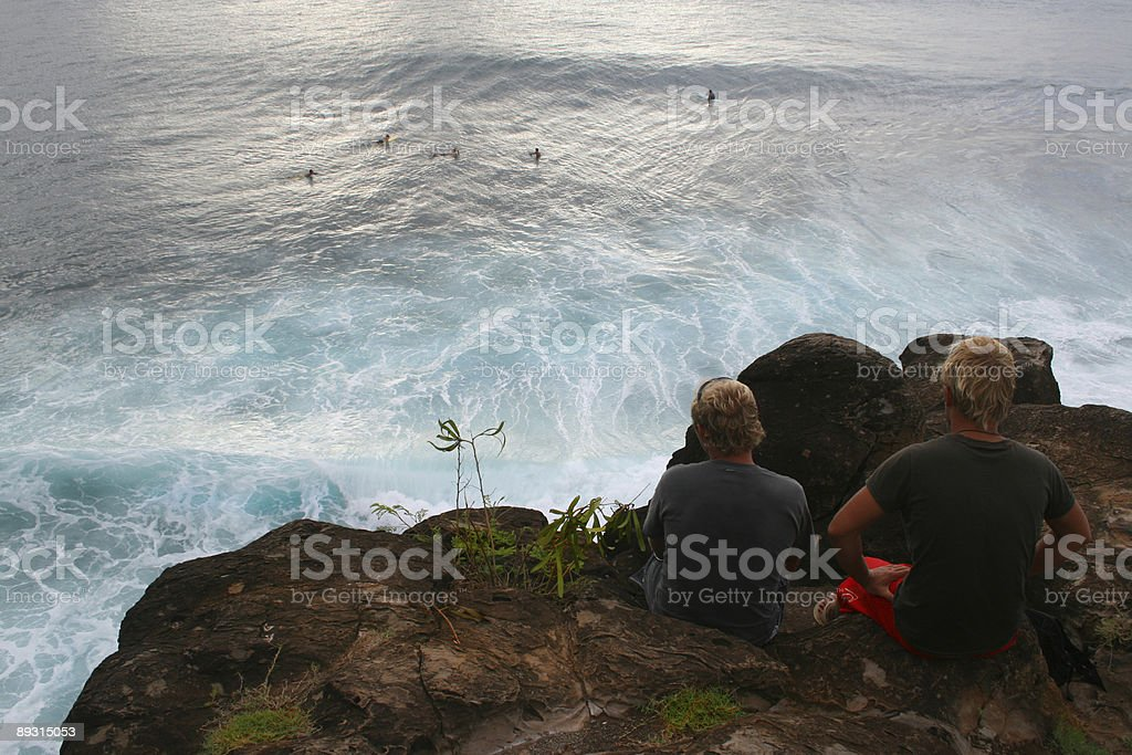 Hawaiian dreaming... surf and surfers up royalty-free stock photo